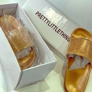 PrettyLittleThing Rose Gold Slides